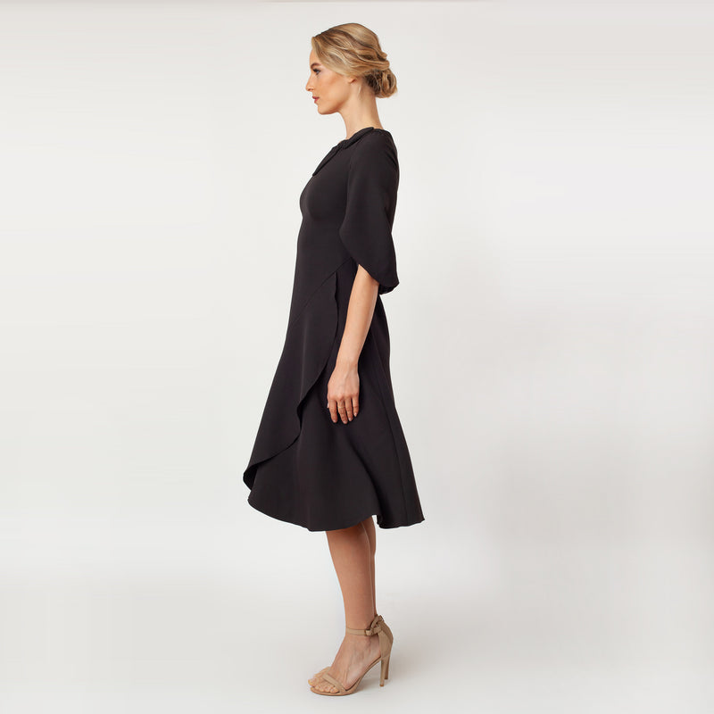 CN7143_Tulip Sleeve T-length Fit & Flare Dress - Cenia New York