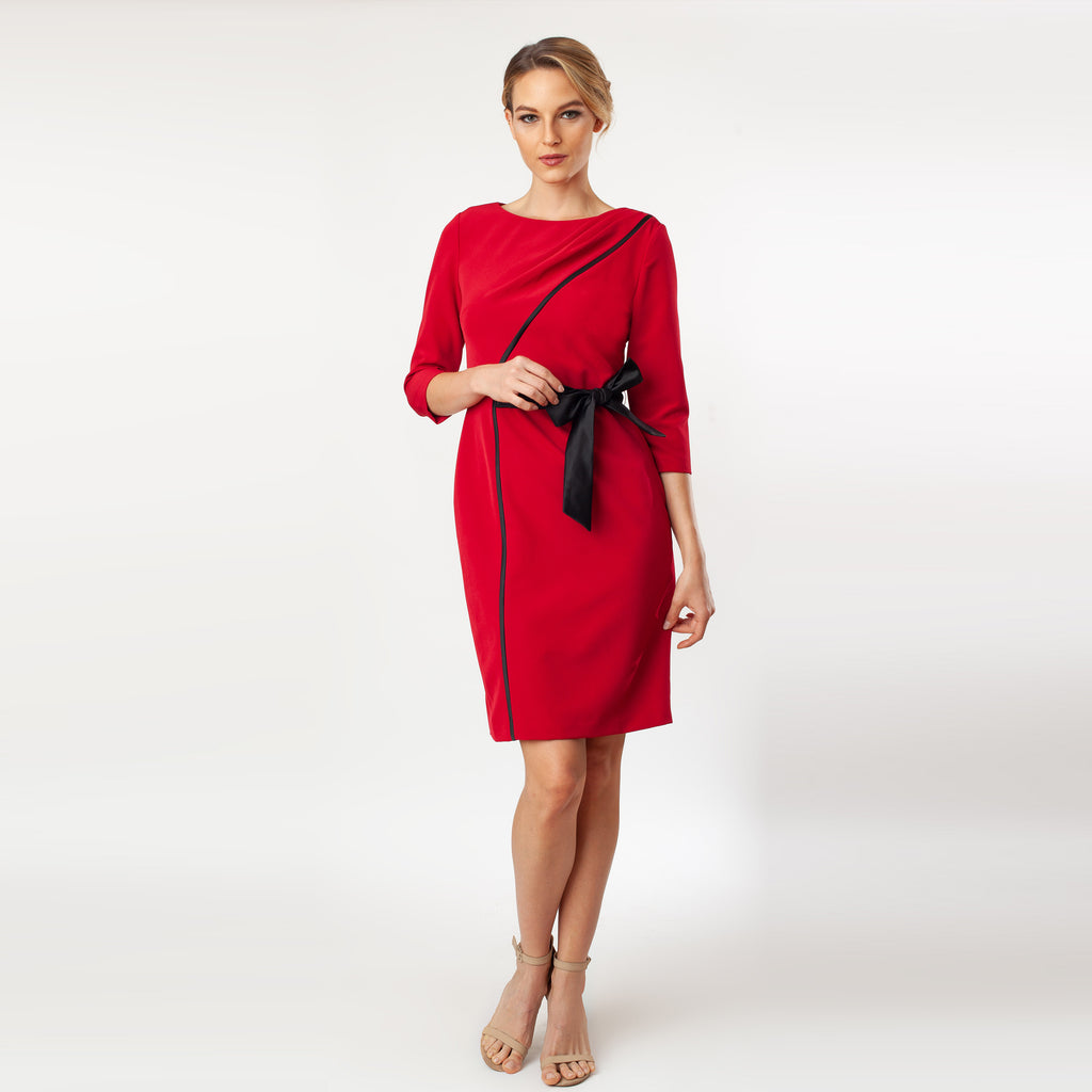 CN7147-Contrast Side Tie Sheath - Cenia New York