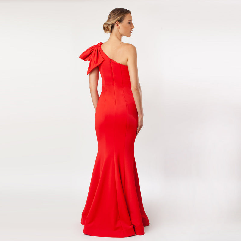 CN7155_One Shoulder Bow Sleeve Gown - Cenia New York