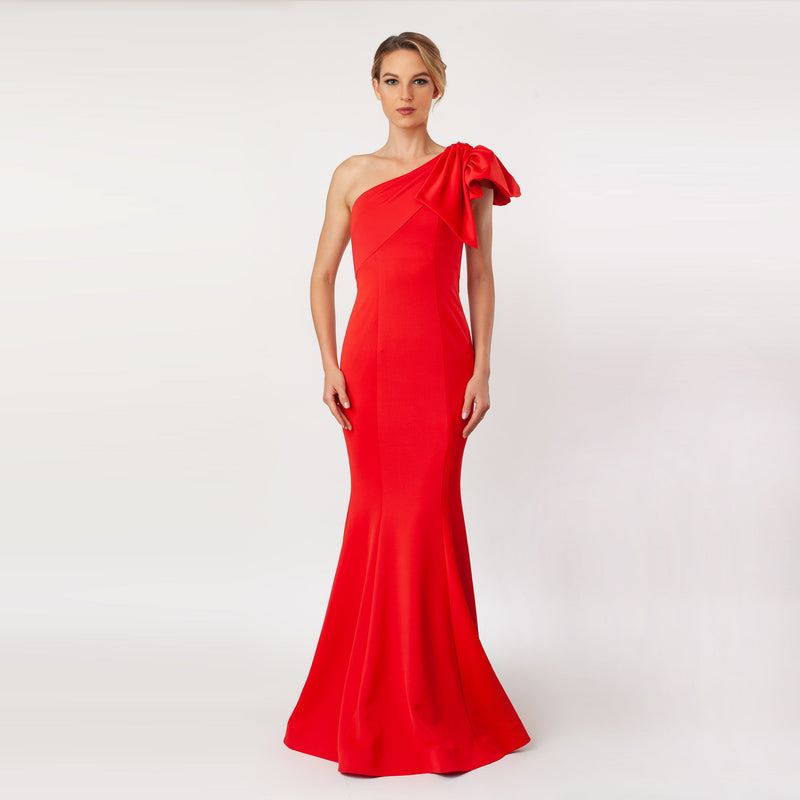 CN7155_One Shoulder Bow Sleeve Gown