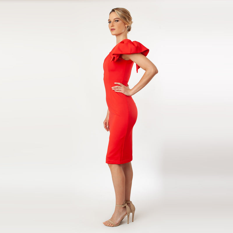 CN7156_One Shoulder Bow Sleeve Sheath