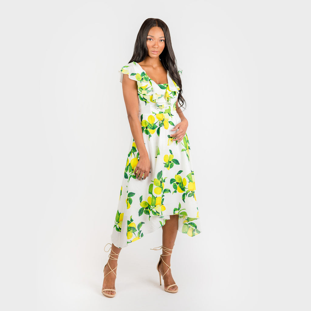 CN7177 Ruffled Nkline Sharkbite Hem Dress - Cenia New York