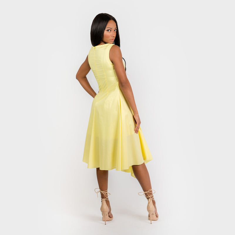CN7180 Asymmetric Flared A-line Dress - Cenia New York