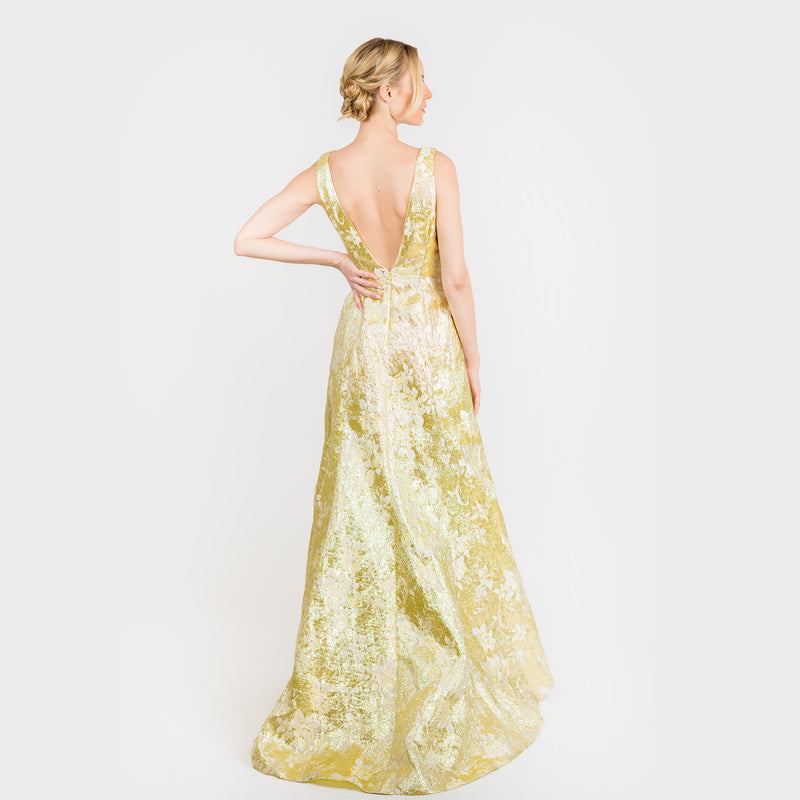 CN7188 Slvlss Side Bottom Flounce Gown - Cenia New York