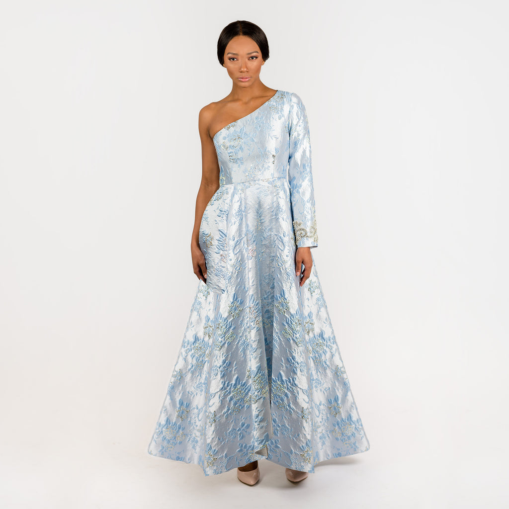 CN7195 One Soulder Beaded Gown