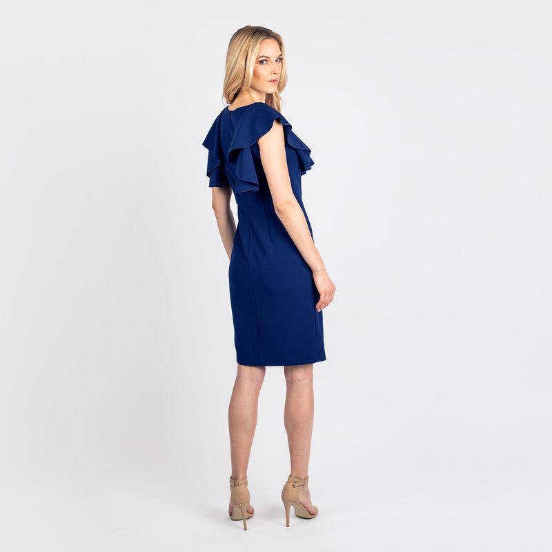CN7198 Flounced Slvs Sheath - Cenia New York