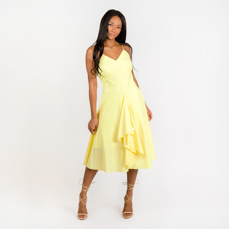 CN7177 Ruffled Nkline Sharkbite Hem Dress