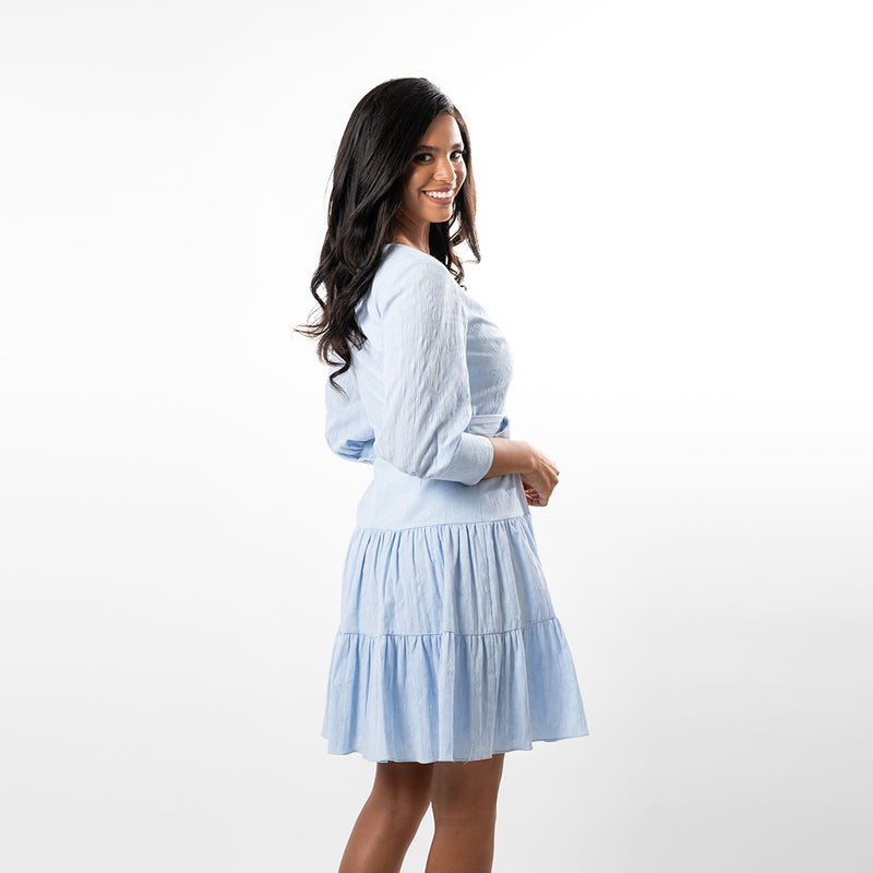 Have fun while looking fabulous in this beatifully cut tiered dress. So perfect for all your spring outings!