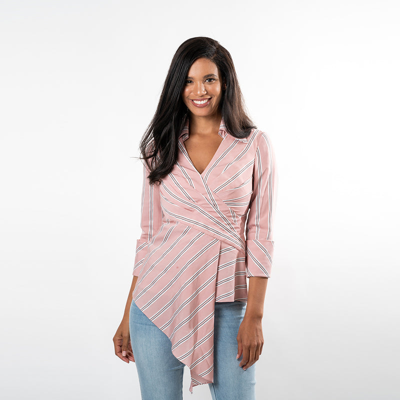 Asymmetric Hem Wrap Shirt - Cenia New York