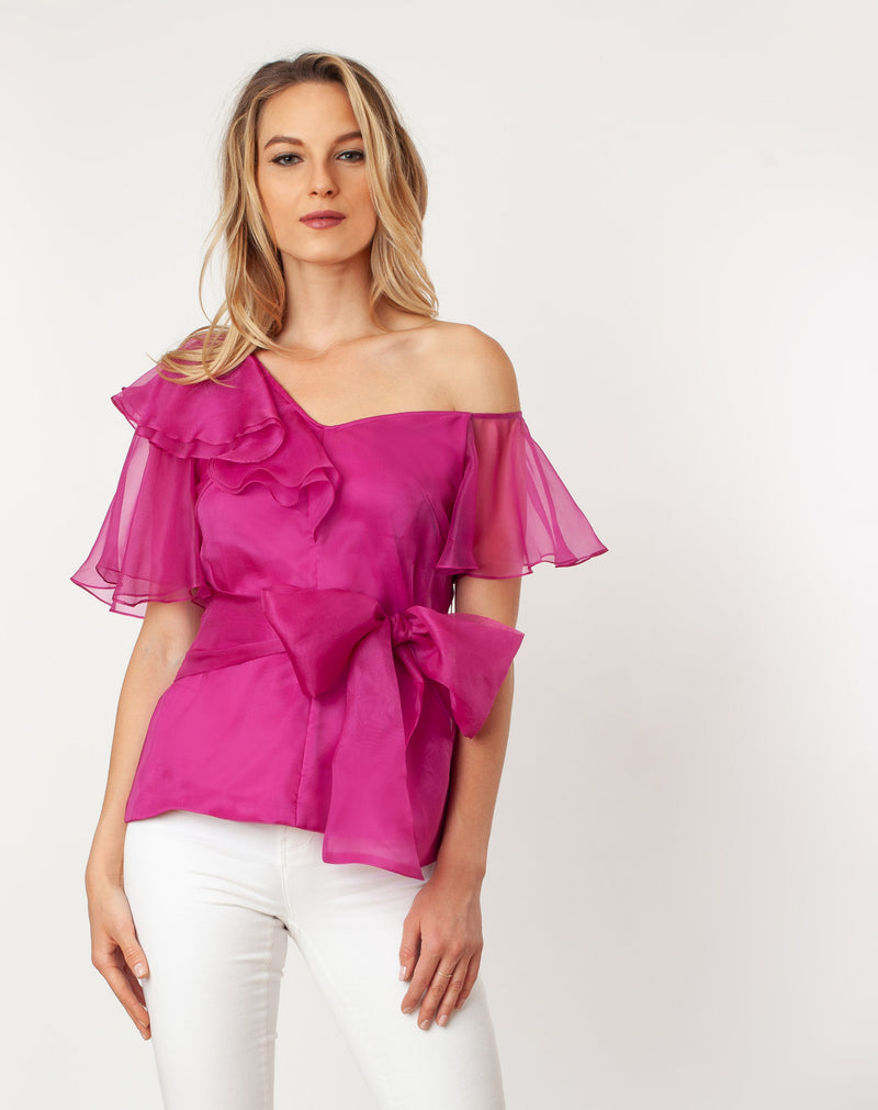 T7118_Asymmetric Shoulder Flutter Sleeve Blouse - Cenia New York
