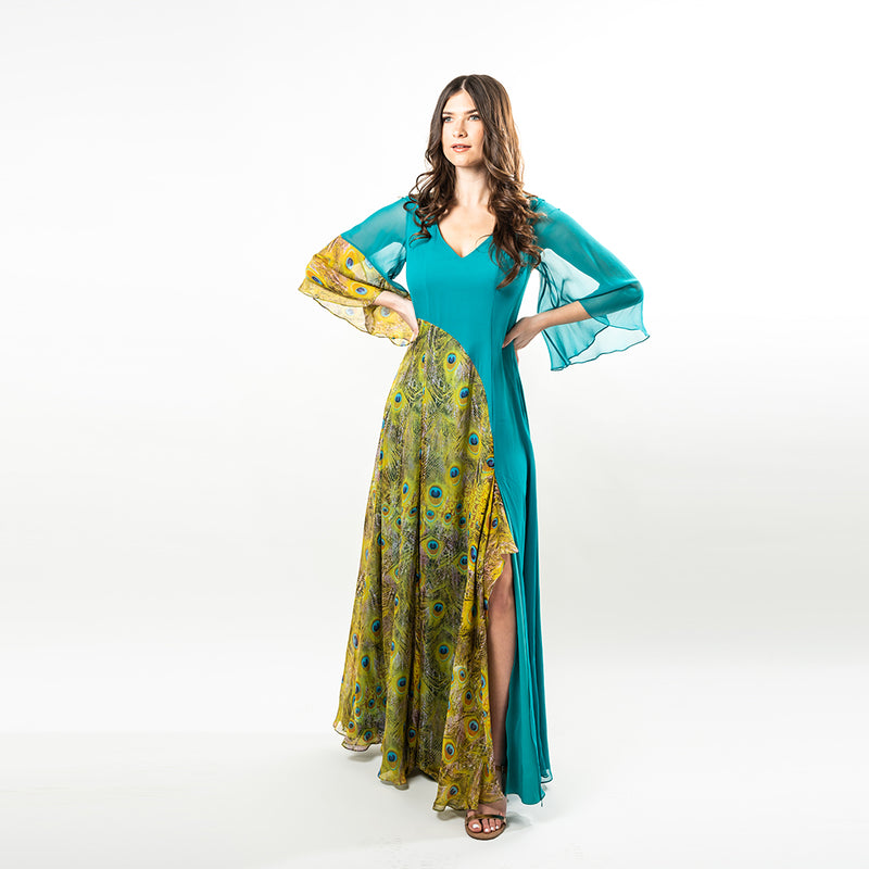 A relaxed, yet sexy maxi dress made from luxurious solid silk chiffon in Turquoise, combined with our beautiful Peacock Feather Print, make this unique piece a must have!