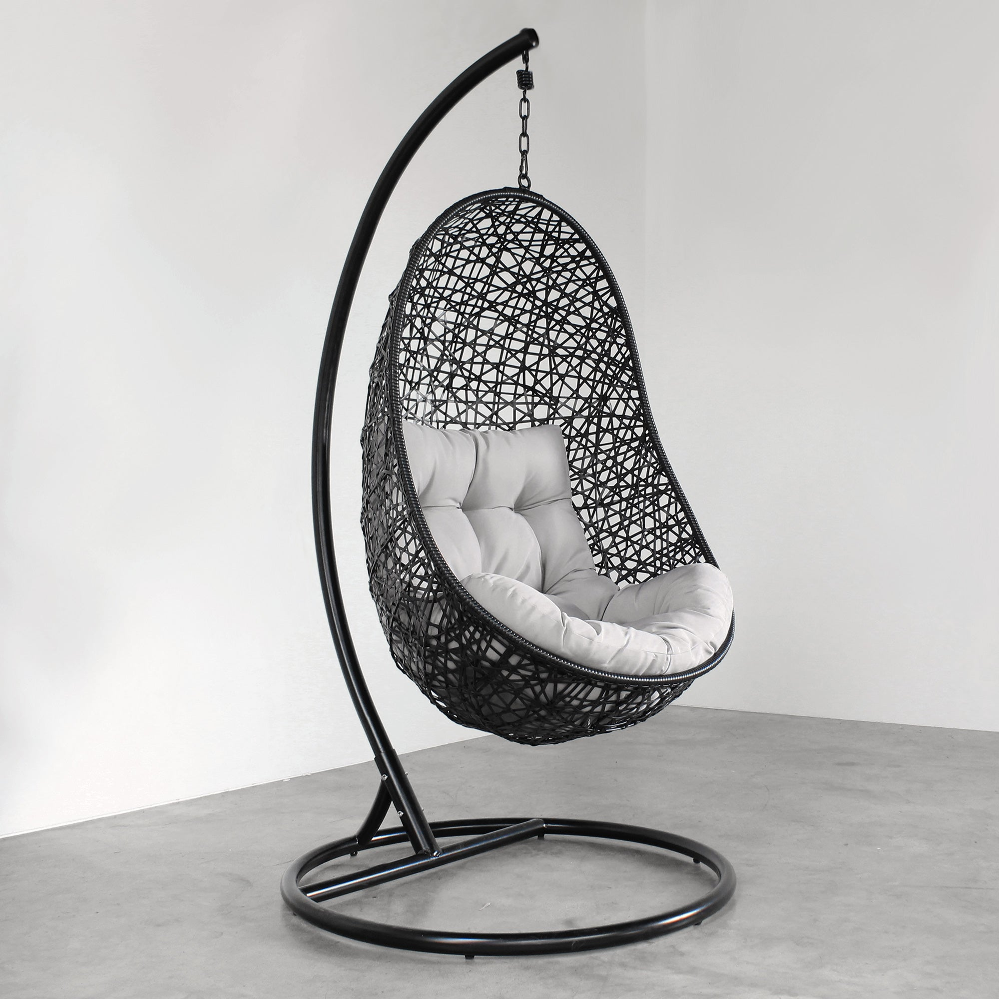 hanging egg chair black tempt interiors. Black Bedroom Furniture Sets. Home Design Ideas