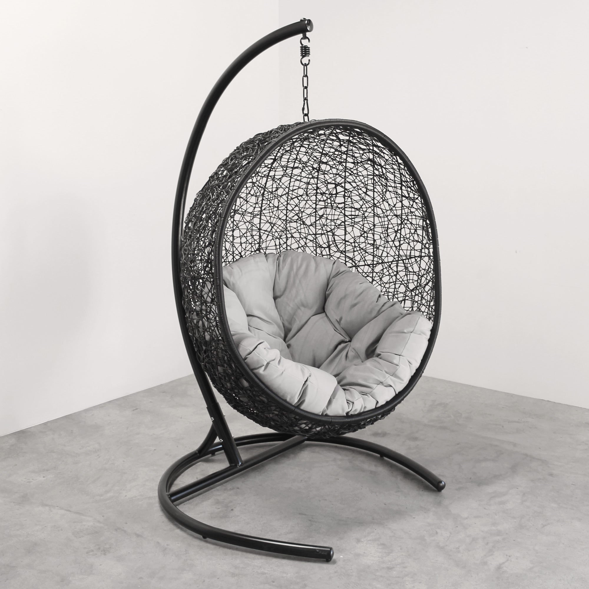 Hanging Egg Chair Round Black - Tempt Interiors