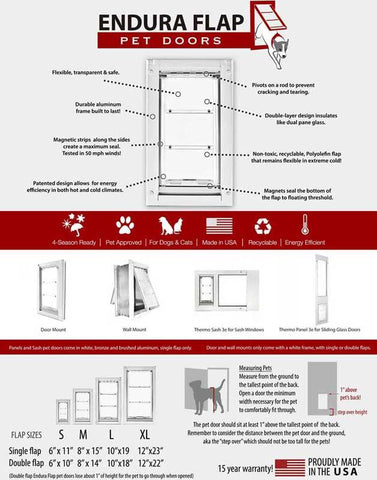 Patio Pacific 01ppc10s-rw Quick Panel 3 - Large with Endura Flap - 93.25-96.25, white frame - DogDoorMart
