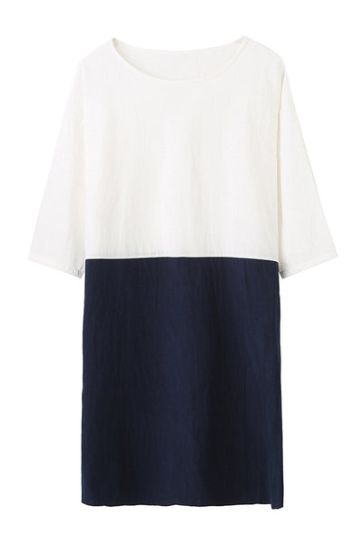 Colour Block Linen Dress