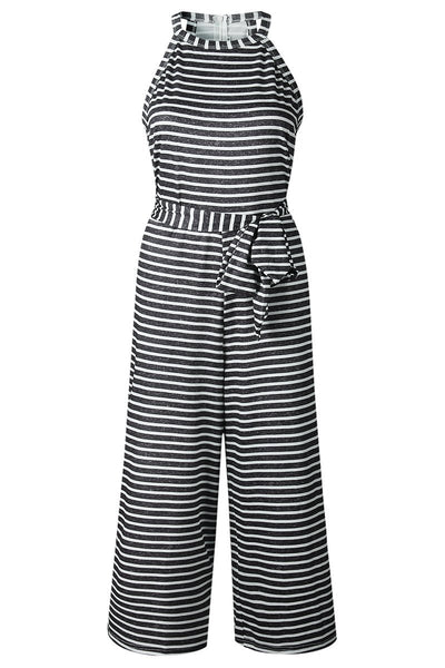 Tie Waist Striped Jumpsuit