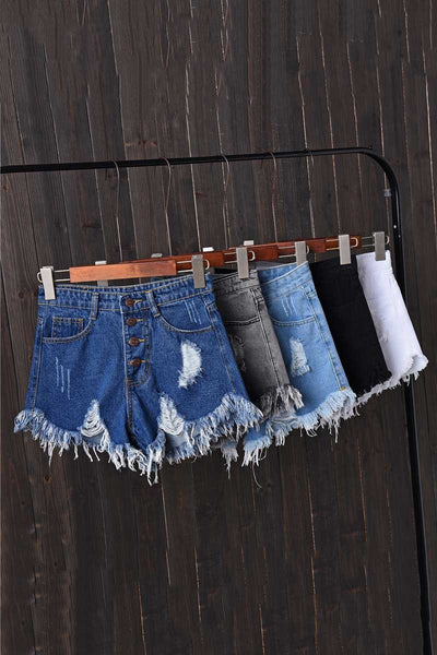 High Waisted Shredded Denim Shorts