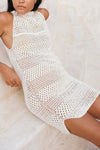 High Neck Crochet Dress