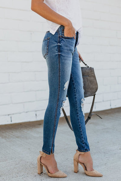 Ankle Skim Distressed Jeans