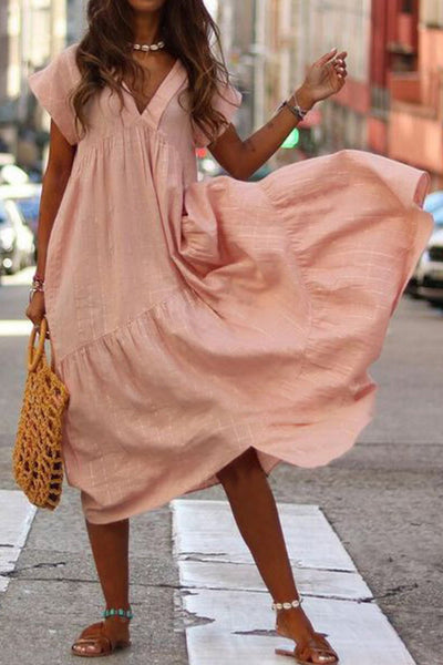 V Neck Tiered Cotton Midi Dress