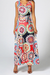 70's Print Knot Detail Maxi Dress