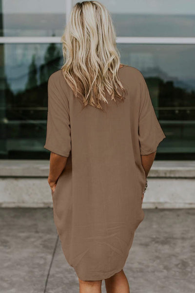 Nude Oversized Premium Linen Ovoid Dress