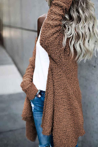 Solid Open Front Irregular Cardigan