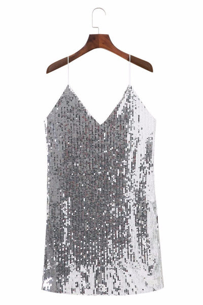 Spaghetti Strap Sequin Embellished Dress