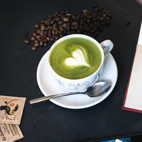 Matcha Latte with Spoon