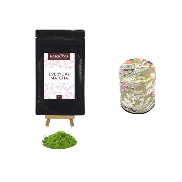 EVERYDAY Matcha Green Tea Powder (30g) + Tea Canister Bundle Matcha Matcha Yu Everyday Matcha 30g & Gold Canister (Small)