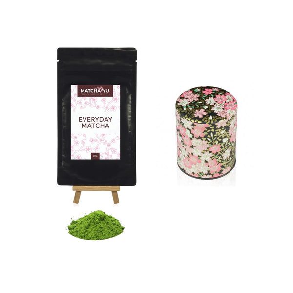 EVERYDAY Matcha Green Tea Powder (30g) + Tea Canister Bundle - save $5 Matcha Matcha Yu Everyday Matcha 30g & Black Canister (Small)