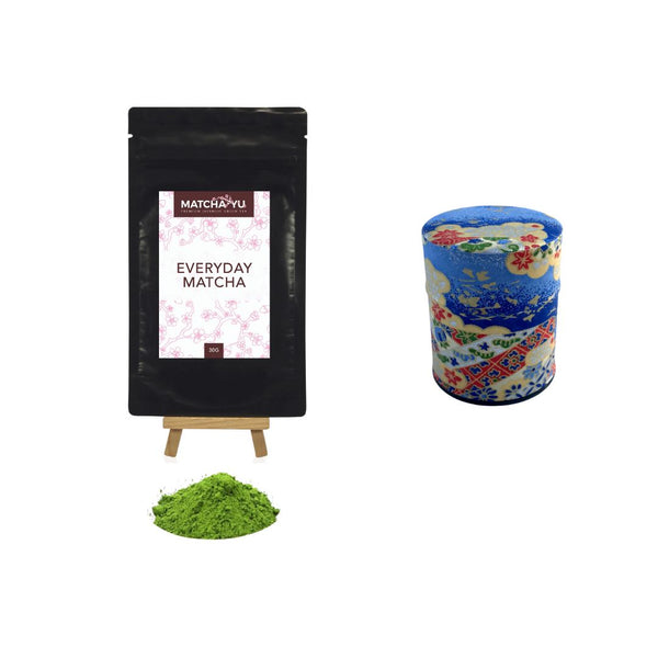 EVERYDAY Matcha Green Tea Powder (30g) + Tea Canister Bundle - save $5 Matcha Matcha Yu Everyday Matcha 30g & Blue Canister (Small)