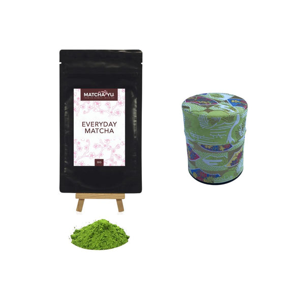 EVERYDAY Matcha Green Tea Powder (30g) + Tea Canister Bundle - save $5 Matcha Matcha Yu Everyday Matcha 30g & Green Canister (Small)