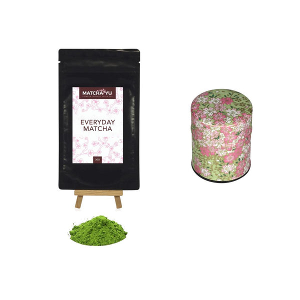EVERYDAY Matcha Green Tea Powder (30g) + Tea Canister Bundle - save $5 Matcha Matcha Yu Everyday Matcha 30g & Pink / Green Canister (Small)