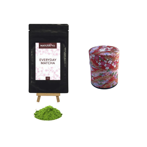 EVERYDAY Matcha Green Tea Powder (30g) + Tea Canister Bundle - save $5 Matcha Matcha Yu Everyday Matcha 30g & Red Canister (Small)