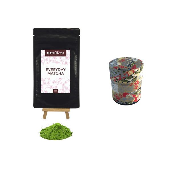 EVERYDAY Matcha Green Tea Powder (30g) + Tea Canister Bundle - save $5 Matcha Matcha Yu Everyday Matcha 30g & Red / Gold Canister (Small)