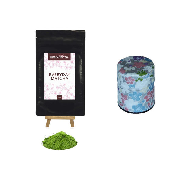 EVERYDAY Matcha Green Tea Powder (30g) + Tea Canister Bundle - save $5 Matcha Matcha Yu Everyday Matcha 30g & Silver Canister (Small)