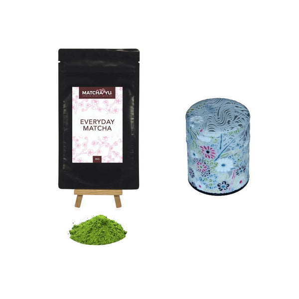 EVERYDAY Matcha Green Tea Powder (30g) + Tea Canister Bundle - save $5 Matcha Matcha Yu Everyday Matcha 30g & White Canister (Small)