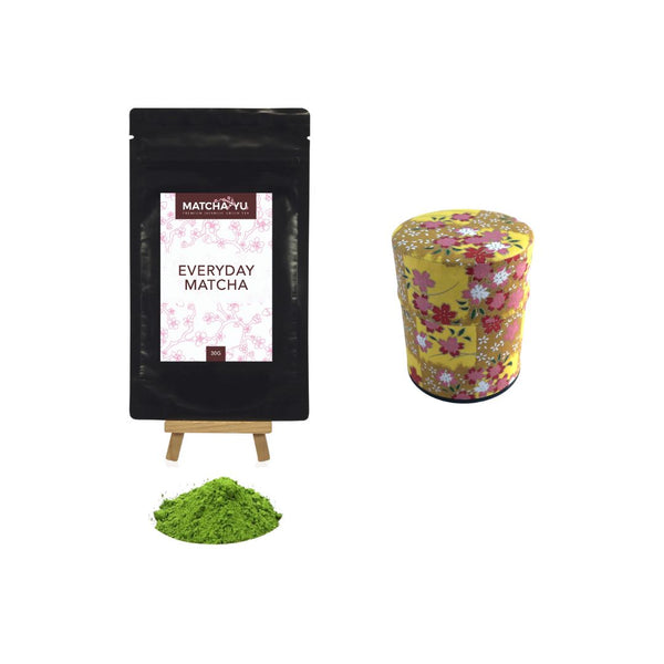 EVERYDAY Matcha Green Tea Powder (30g) + Tea Canister Bundle - save $5 Matcha Matcha Yu Everyday Matcha 30g & Yellow Canister (Small)