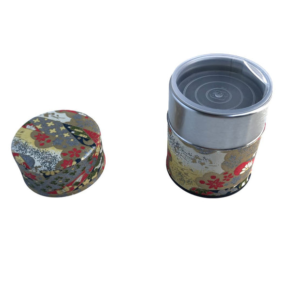HANA Red & Gold Japanese Washi Paper Tea Canister (Small) Accessories Matcha Yu
