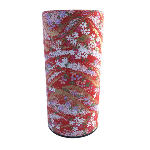 HANA Red Japanese Washi Paper Tea Canister (Large) Accessories Matcha Yu
