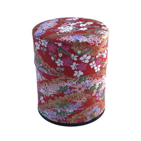 HANA Red Washi Japanese Tea Canister (Small) Accessories Matcha Yu
