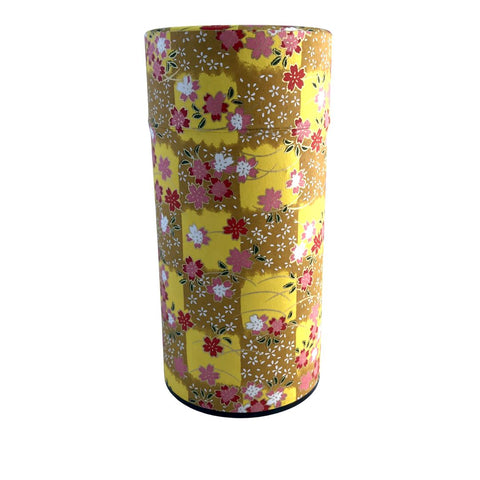 HANA Yellow Japanese Washi Paper Tea Canister (Large) Accessories Matcha Yu