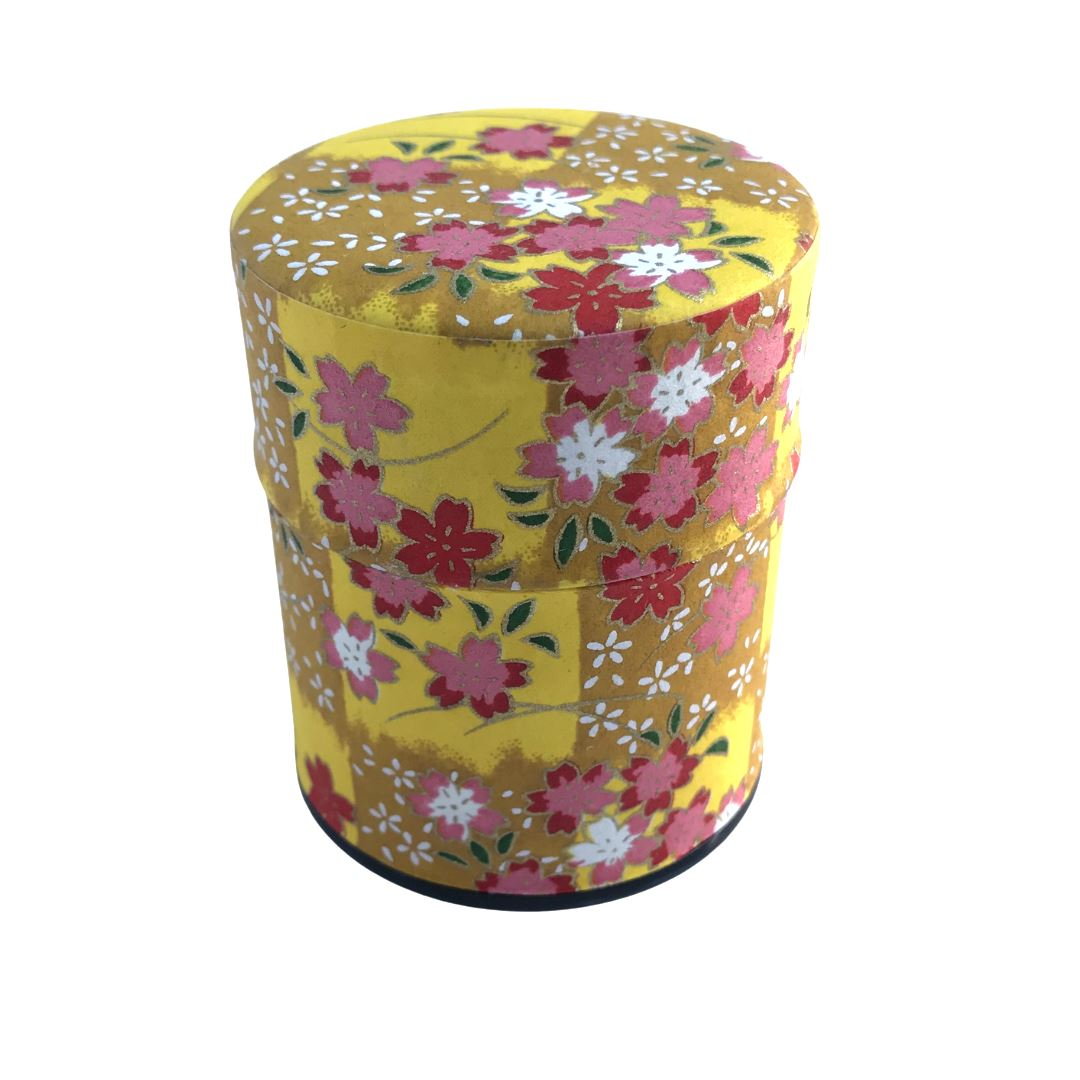 HANA Yellow Japanese Washi Paper Tea Canister (Small) Accessories Matcha Yu