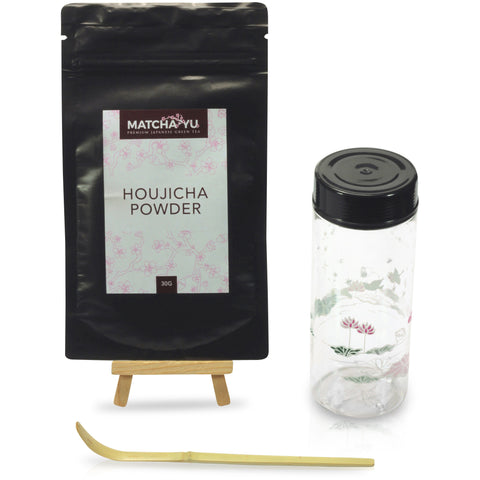 HOUJICHA Roasted Green Tea Powder (30g) Shaker Set Tea Shaker Set Matcha Yu Floral
