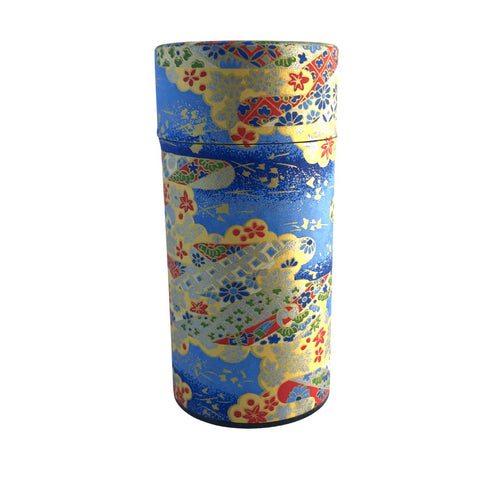 MOMIJI Blue Washi Paper Japanese Tea Canister (Large) Accessories Matcha Yu