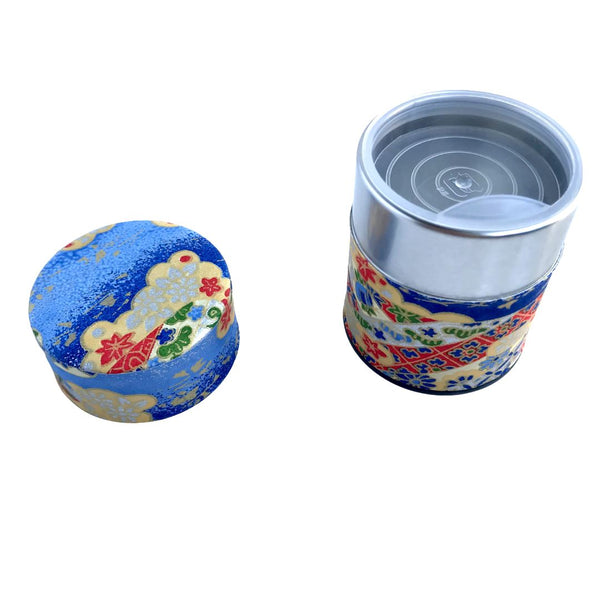 MOMIJI Blue Washi Paper Japanese Tea Canister (Small) Accessories Matcha Yu