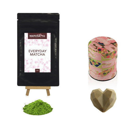 MOTHERS DAY INDULGE SET - Matcha + Canister + Soap Matcha Matcha Yu Everyday Matcha 30g & Pink Canister & Soap