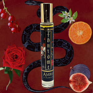 Amria 10mL Rollerball, Black with red roses