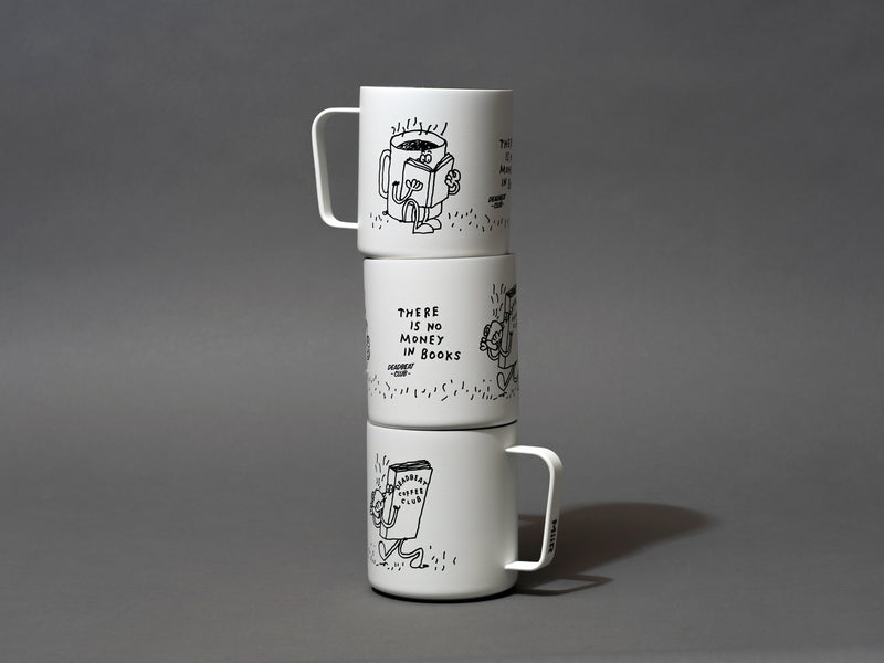 "Three cups stacked tall. Insulated coffee cups featuring wrap-around illustrations by artist Stefan Marx. A book drinking a cup of coffee and a coffee mug reading a book. ""There's no money in books."" ""Deadbeat Club Coffee"" ""Deadbeat Club"""